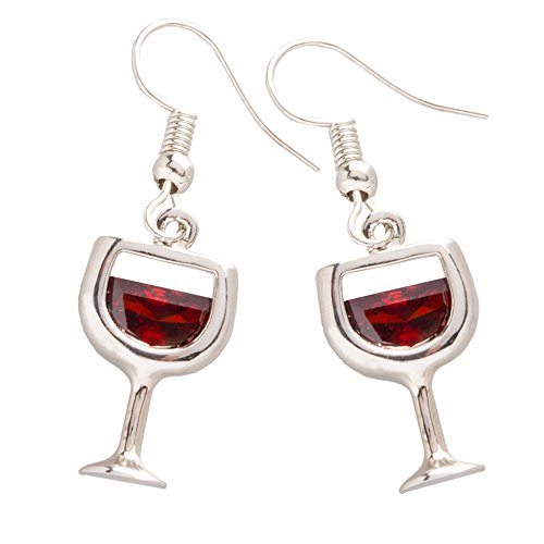 Chris's Stuff Red Wine Earrings - Silver Plated with Fish-hook Ear wires & Crystals - Gift Set