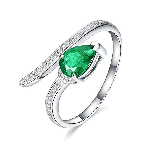 Amody Anillo Compromiso Oro Blanco 18 K y Esmeralda, Anillo Matrimonio con Diamante y Esmeralda 0.51ct Tamaño 22