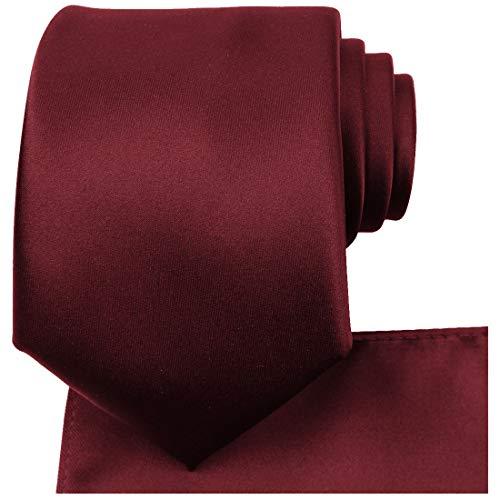 KissTies Burgundy Tie Set Satin Wedding Ties Necktie + Pocket Square