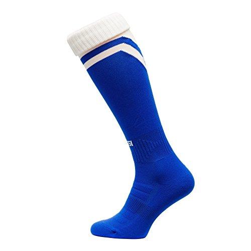 Fussballstutzen Modell S Fussball Struempfe Stutzen 100% Atmungsaktiv viele Farben, blauweiß, 38-41