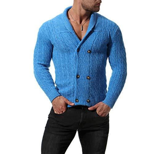 Chaqueta de suéter de Solapa para Hombre Color sólido Clásico de un...