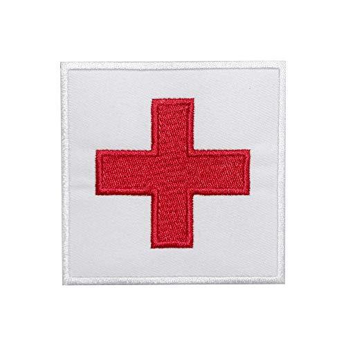 Aufnäher mit rotem Kreuz, Nationalflagge, bestickt, zum Aufbügeln oder Aufnähen, für Kleidung etc.