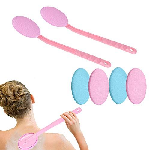 Fácil aplicador de loción para la Espalda con Almohadillas de reemplazo, Cepillo de baño de Cuerpo con Mango Largo Ducha de Espalda Cepillo seco para Hombres Mujeres niños (Color : Pink+Pink)