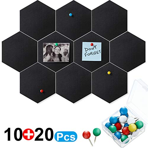 10 Packs Pin Board Hexagon Felt Board Tiles Bulletin Board Memo Board with 20 Pieces Push Pins, Decoration for Home Office Classroom Wall 5.9 x 7 inches/ 15 x 17.7 cm (Black)