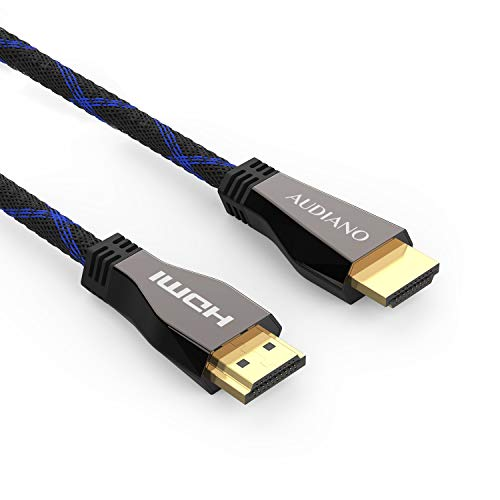 8K HDMI Cable, AUDIANO 8K HDMI Cable 100% Real 8K, High Speed 48Gbps 8K@60Hz 7680P Dolby Vision, HDCP 2.2, 4:4:4 HDR, eARC Compatible with Apple TV, Samsung QLED TV (6.6ft)