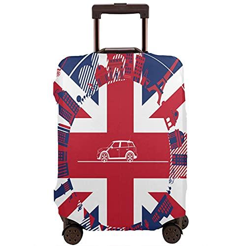 COSNUG Funda para equipaje (solo para equipaje), diseño de bandera de Inglaterra del Reino Unido con símbolos de Londres, funda protectora para equipaje de 18 a 32 pulgadas, multicolor, 80
