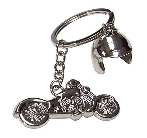 Llavero de moto y casco de acero plateado cromado, motero