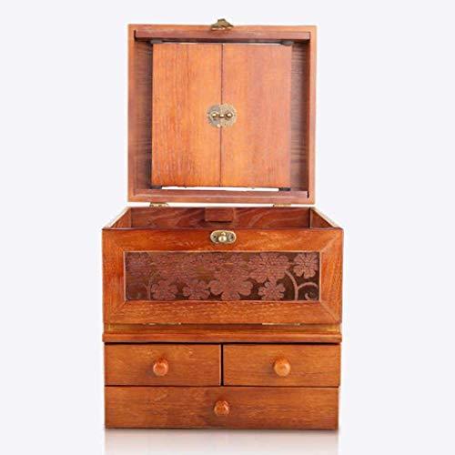 Boîte de rangement en bois pour produits de beauté Chambre à coucher rétro de grande capacité Chambre à coucher en bois Dressing Soins de la peau avec miroir Trois tiroirs (couleur: A)