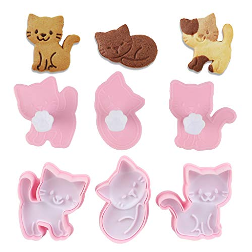 3 Stück / Set süße Katze Keksformen Fondant Ausstecher Keksausstecher Kuchen Gebäck Form Dekoration Küche DIY Backzubehör