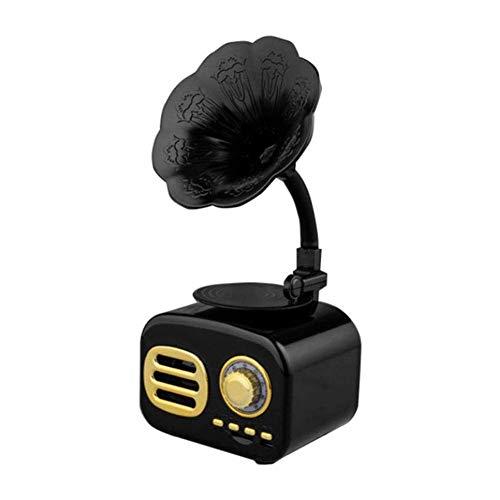 Caja música Altavoz retro vintage Gramófono Reproductor discos Bluetooth Radio giratorio Caja sonido estéreo Mini altavoz inalámbrico, ranura para tarjeta TF, para oficina en casa para entretenimient