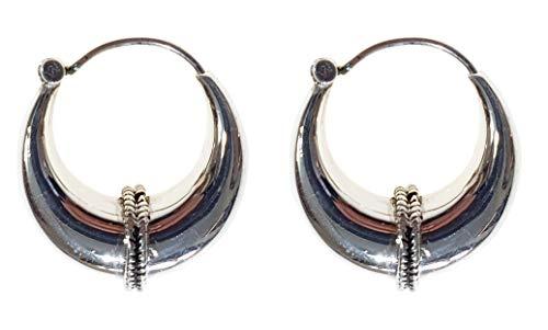 Orecchini a cerchio in argento Sterling 925 fatti a mano per donna etnica tribalale dal design unico di Tibetan Silver