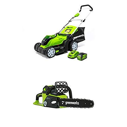 Greenworks 17-Inch 40V Cordless Lawn Mower with 16-Inch 40V Cordless Chainsaw Battery Not Included 20322