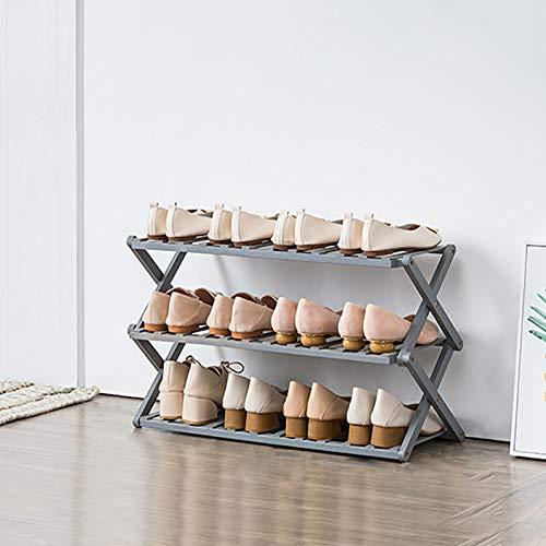 3-estante De Zapatos De Nivel,Plegable Bambú Estantes De Zapatos De Pie Libre,Portátil Multifuncional Organizador De Almacenamiento De Estanterías De Zapatos Para La Entrada,Pasill-Gris. 68x25x38cm(27