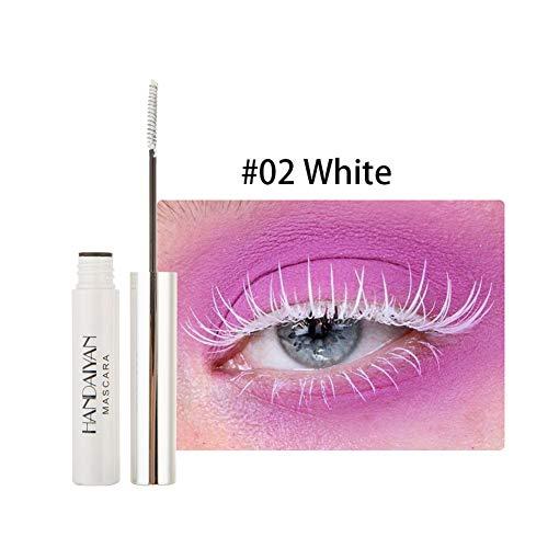 WWWNNUUUX 12 Color de rimel, Natural Impermeable 4D Seda Fibra del rimel del latigazo Gruesa y largas pestañas a Prueba de Manchas de Maquillaje de Ojos,Blanco