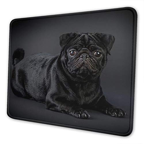 Black Pug Mouse Pad with Stitched Edge, Premium-Textured Mouse Mat, Non-Slip Rubber Base Mousepad for Laptop, Computer & PC, 10.3x8.3x0.03 inch