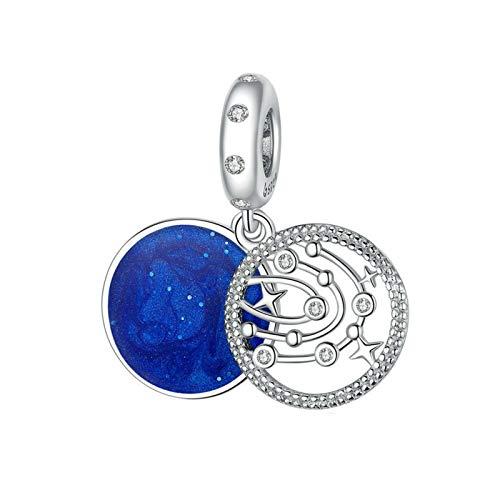 HMMJ Cuentas encantos, S925 Sterling Silver DIY Azul Fantasía Galaxy Hecho A Mano Elegante Retro Gota Colgante de Aceite para Pandora Troll Chamilia Charm Pulsera Collares