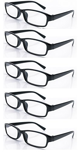 4sold Slim The Reading Glasses Company Lightweight Comfortable Readers Value 5 Pack Designer Style Mens Womens With Case and Pouch +0.50 +0.75 1.00 +1.5 +2.00 +2.5 +3.5 +4.00 (Black, 1.00)