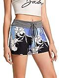 SweatyRocks Women's Casual Floral Print Workout Yoga Short Pants Hot Shorts Light Blue L