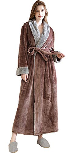 Damen Bademantel Flauschig Morgenmantel Plüsch Robe Mikrofaser Kuschelfleece Saunamantel Hausmantel Extra Lang Braun XL