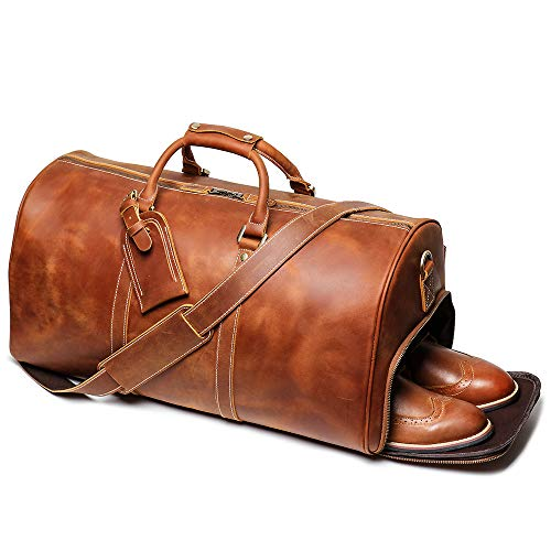 Leathfocus Leather Travel Duffel Bag, Mens Classic Gift Leather Weekend Bag Overnight Full Grain Retro Sport Gym Carry on Luggage YKK Zipper (Brown)