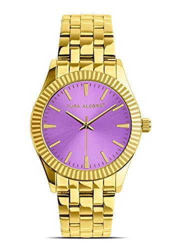 Reloj Pura Alegría - Violet Candy - Analógico Mujer Dorado con Esfera Lila y Cadena de Acero
