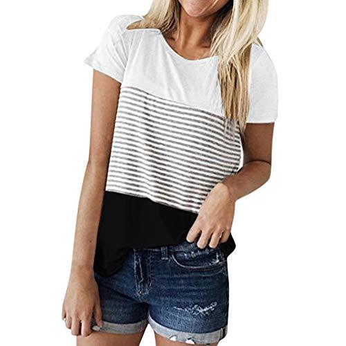 iHENGH Damen Top Bluse Bequem Lässig Mode T-Shirt Frühling Sommer Blusen Frauen Kurzarm Triple Color Block Streifen T-Shirt Lässige Bluse(Schwarz, S)