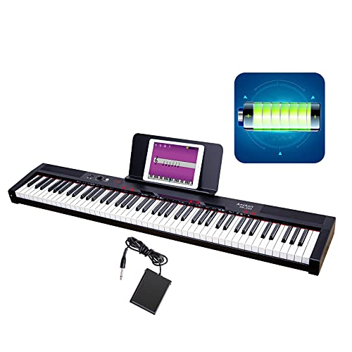Anckon Digital Piano 88 Key Full Size Semi Weighted Electronic Keyboard with Music Stand,Bluetooth,MIDI,Headphones,Microphone&Keynote Stickers,for Beginner Professional at Home/Stage,Black