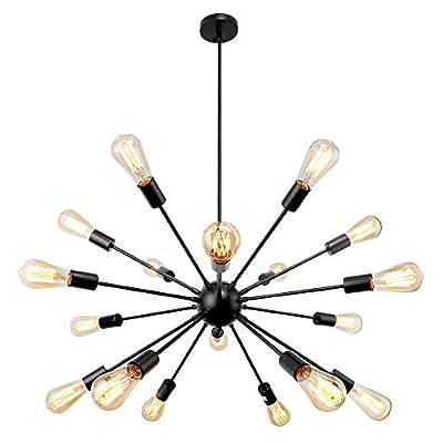 Sputnik Chandelier 18 Lights, Modern Industrial Vintage Ceiling Light Fixture, Pendant Lighting Matte Black Chandeliers