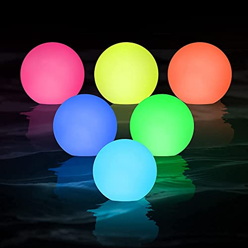 6pcs Floating Pool Light , WHATOOK LED Spa Light, IP68 Waterproof RGB 16 Color Changing Bathtub Night Light, Light Up Ball Light for Kids Gift, Wedding, Party, Hot Tub, House Decor