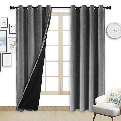 ZHAOFENG Grey Blackout Velvet Curtains with Grommet, SoftLuxury ThickSunlight Dimming Heat InsulatedPrivacy ProtectVelour Drapes for Bedroom and Living Room, 2 Panels, W52 x L84 Inches