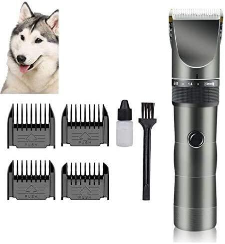 Asncnxdore Recargables Mascotas Maquinilla maquinillas eléctricas 5 Velocidad de bajo Ruido inalámbricos Clippers Pet Trimmer Perro con la escobilla y 4 peines for Perros Gatos