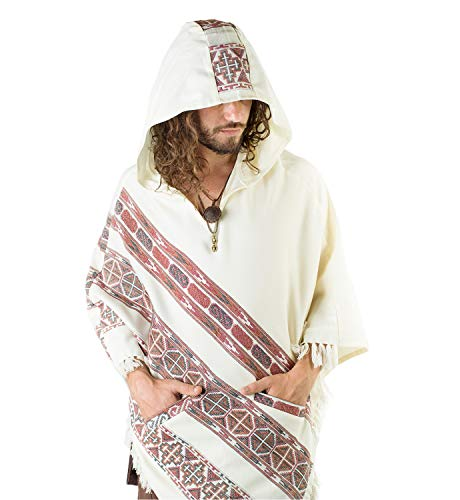 Handmade Hooded Mens Poncho White Cashmere Wool with Large Hood and Pockets Jungle Primitive Gypsy Festival Mexican Tribal Embroidered Celtic Earthy Winter Tibetan AJJAYA Wild …