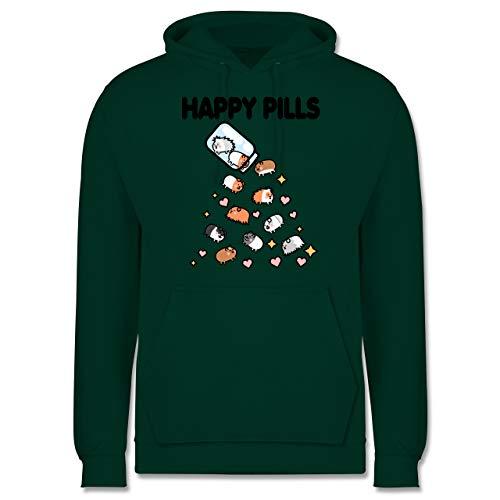 Shirtracer Tiere Meerschweinchen Hase & Co. - Happy Pills - Meerschweinchen Liebe - M - Dunkelgrün - Geschenk - JH001 - Herren Hoodie und Kapuzenpullover für Männer