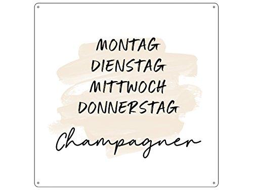 Interluxe 20x20cm metalen bord deurplaat maandag dinsdag beige champagne alcohol week