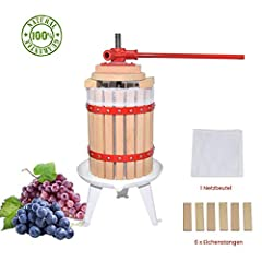 Fruktpress Apple press Fruktpress av med träkorg för self-made naturlig fruktsaft, druva, bär, äpple, fruktpress winepress däribland Fritt press netto (6L)