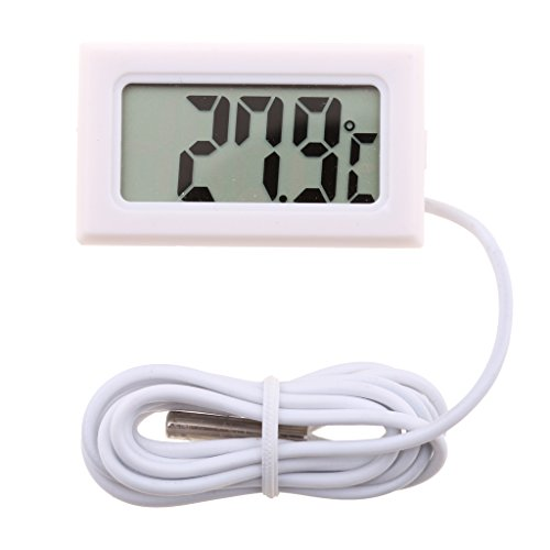 Dolity Digital LCD Thermometer -50℃ bis -110℃ Digitalthermometer, Temperatur Messer Wasserthermometer - Weiß