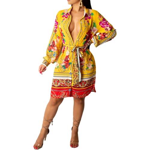 Camisas Medianas para Mujer Moda Estampada Bloques de Colores de Moda Ropa de Calle al Aire Libre Camisas Casuales de Manga Larga Personalizadas L