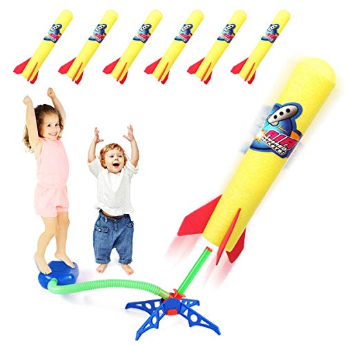 Duckura Kids Jump Rocket Launchers with 6 Foam Rockets, Summer Outdoor Outside Paly Games Activities, Toy Gifts for Boys Girls Toddlers Ages 3 4 5 6 7 8 and Up