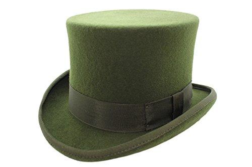 Unisexe pour Homme, Femme d'olive 100% Laine fabriquée à la Main Top Chapeau de Feutre. - Vert - Vert Olive,