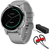 Garmin 010-02172-01 Vivoactive 4S Smartwatch, Powder Gray/Stainless Bundle with Deco Gear Magnetic Wireless Sport Earbuds, Red with Carrying Case and Voltix 2600mAh Portable Power Bank