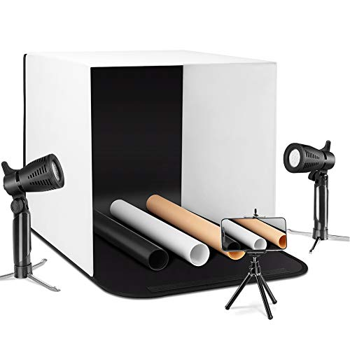 """ESDDI Photo Light Box Photography 16""""x16""""/40x40cm Portable Table Top Lighting Shooting Tent Kit Foldable Cube with 2x20 Led Lights 3 Color Backdrop for Jewellery Product Advertising"""