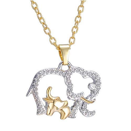 Fashion Mom & Baby Elephants Necklace Silver Rhinestone Pendant Necklace Charm Chain Jewelry Gift by SamGreatWorld