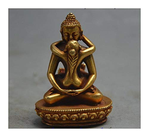 DFNESNN 2.3in, Bronze Carved Penis Deity Statue, Handmade Collectibles Statue, Rejoice Happiness for Buddha, Display Home Office Garden Statue of Buddha