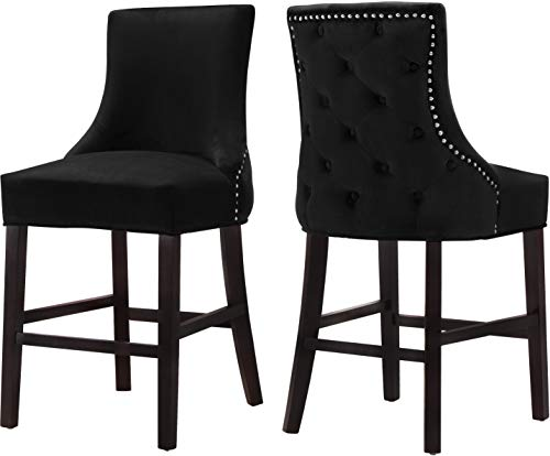 Meridian Furniture 775Black-C Hannah Collection Modern | Contemporary Velvet Upholstered Counter Stool with Wood Legs, Button Tufting, Nailhead Trim, Set of 2, 19.5' W x 20.5' D x 40' H, Black