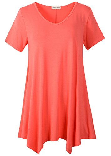 LARACE Women Casual T Shirt V-Neck Tunic Tops for Leggings(L, Watermelon)