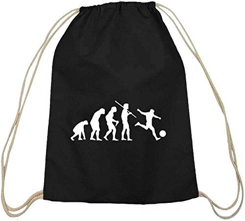 Shirtstreet24, EVOLUTION FUSSBALL, EM WM Fußball Baumwoll natur Turnbeutel Rucksack Sport Beutel, Größe: onesize,schwarz natur
