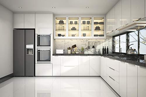 KINLO weiß glanz Möbelfolie 5x0.6M 3pcs (9㎡) PVC Klebefolie Küchenschrank Aufkleber Selbstklebend Küchenfolie Deko Plotterfolie