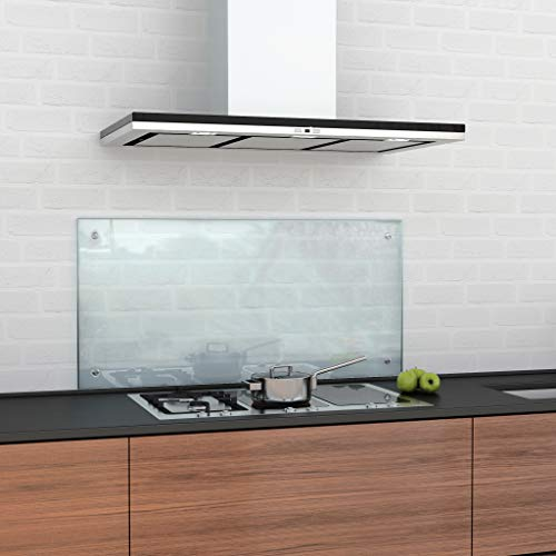 glasshop24 Spritzschutz Küche Glas Küchenrückwand Glas, Spritzschutz Herd Glas-Platte Wand, Küchenwand - Glasrückwand, Klarglas 50 x 80 cm, inkl. Montageset