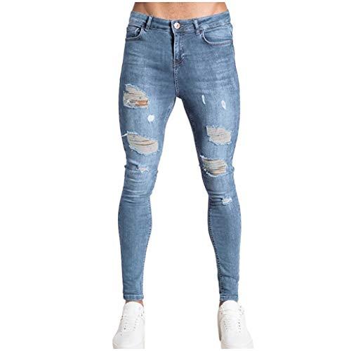 Panty's, joggingbroek, brede broek, herenmode, denim, gat, broek, gestressed jeans, lange potloodbroek streetwear XX-Large lichtblauw