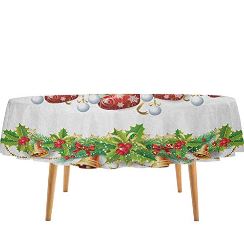 prunushome Christmas Table Cloth Cover Traditional Garland Designs with Flowers Socks and Bells Mistletoe Candy Birthday Party BBQ Fiesta Orange Red Green (54' Round)